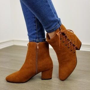 Shoes - Chestnut Faux Suede Ankle Booties Side Laced Up-jj